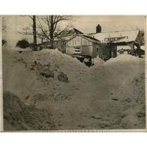1940 Press Photo Snow storm near Warsaw, New York
