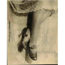 1928 Press Photo Brown and Gold Evening Slipper