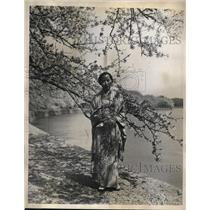 1936 Press Photo Mrs. K. Akiyoshi and Japanese Cherry Blossoms