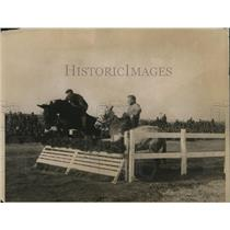 1918 Press Photo Mule balked & refused to take the hurdle at New York Horse Show