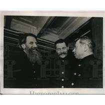1938 Press Photo Moscow Russia, Dr Otto Schmidt, V. Voronin, L.Papanin from