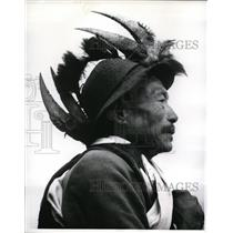 1961 Vintage Press Photo Naga warrior in traditional headress