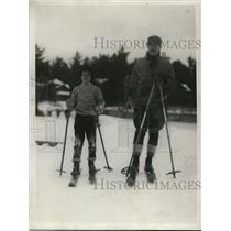 1929 Press Photo Benjamin Tilgham and his son Richard at Lake Placid Club