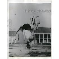 1942 Press Photo Man Flipping Upside Down at Southeast Air Corps Training Center