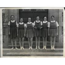 1935 Press Photo Bryn Mawr basketball, W Meirs, P Hasse, ELarner - nes24647