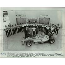 Press Photo Roger Penske in business suit with Rick Mears, Al Unser Sr, Danny