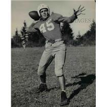 1947 Press Photo Bob Wakins, QB Hill Military Academy, coach Jack O'Halloran's