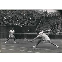 1953 Press Photo Davis Cup Semi Final at Roland Garros, France versus Denmark