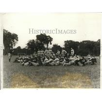 "1928 Press Photo West Point's First Football Practice. Coach is ""Biff"" Jones"