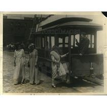 1926 Photo Models Strut Old and New Styles by Street Car Philadelphia