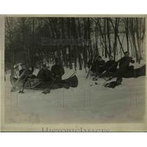 1925 Press Photo Boy Scouts at Bear Mt Camp in the snow in NY