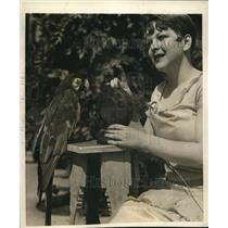 1926 Photo Static Macaw being trained for radio show by Esther Luce