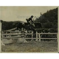 1928 Press Photo of a horse jumping an obstacle.