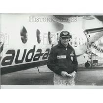 "1979 Press Photo Niki Lauda Standing With 44 Seat ""Fokker 27,"" Hamburg"