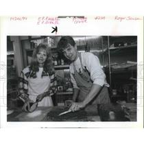 1994 Press Photo Kevin Paul Danley, baking cake with her mom - ora15858