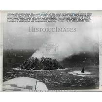 1952 Press Photo Volcano Off Coast of Northern Luzon with Smoke and Sparks