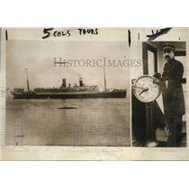 1915 Press Photo NYC Steamship Lafayette & Captain Louis Koch arrive