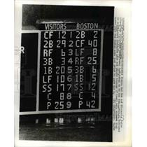 1970 Press Photo Boston Red Sox Scoreboard