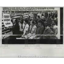 1957 Press Photo New York Postmaster Robert Schaffer Posts Closing Sign