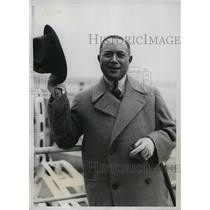 1933 Press Photo David Sarnoff of Radio Corporation of American Returns to NY