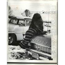 1958 Press Photo Vernal Utah Football fan bundled up for a game after snowfall