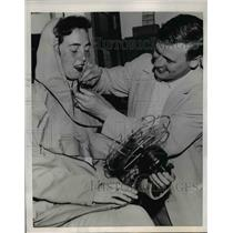 1953 Press Photo Agnes Keough Tries Arctic Clothing Robert Jasse Boston College