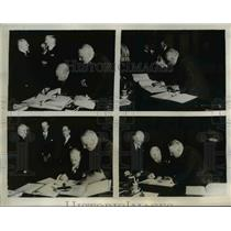 1933 Press Photo Reps. from France, England, Germany and Italy signing a pact.
