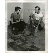1955 Press Photo Robert Patterson & Ruth Chidestel & new leather floor tiles