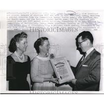 1957 Press Photo of Peter B. Kenney (r) receiving an special citation for a 1957