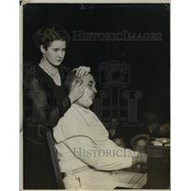 1925 Press Photo BG Burt being shaved  by Mrs Burt