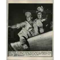 1950 Press Photo of 2Lt. David O. Stengall being helped from his B=26 after