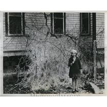 1934 Press Photo Mrs E C Brown turns hose on tree to free it. Ruth Brown Florida