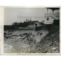 1940 Press Photo Long Branch NJ Shoreline is Washing Away Threatening Homes
