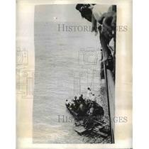 1942 Press Photo Rescue of Crew of British Vessel Struck by U Boat Torpedo