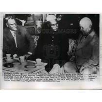 1955 Press Photo New Delhi Pres Rajendra Prasco, Soviet N Bulganin, N Krushchev