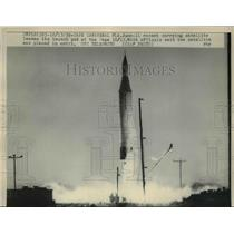 1959 Press Photo The Juno 11 rocket taking off at cape Canaveral - nee16480