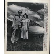 1948 Press Photo Elmira NY Vice Adm John D Price & Camilla Maloney - nee10906