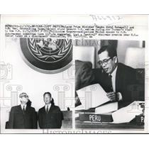 1960 Press Photo Malayan Prime Min. Tengku Abdul Rahman & UN Sec. Hammarskjold