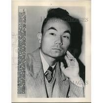 1948 Press Photo Sagara Miyagaki, Japanese was held by Immigration authorities