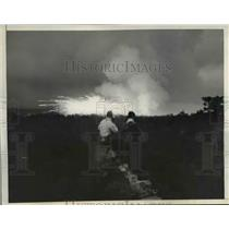 1935 Press Photo Chemical Bomb Explosion During U.S. Army Mimic War, Edgewood