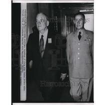 1955 Press Photo John Foster Dulles walks through lobby at Fitzsimons Hospital