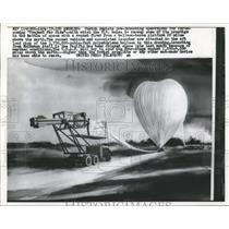 1957 Press Photo US Air Force Project Far Side Rocket Launch Balloon Los Angeles