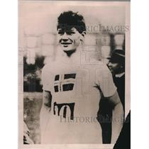 1922 Press Photo Charley Hoff of Denmark Breaks World Record in Pole Vaulting.