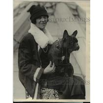 1925 Press Photo The french bull terrier with Miss Corinne Turner - nee26775