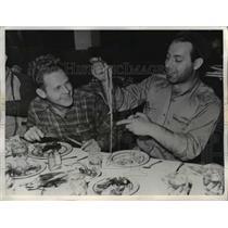 1942 Press Photo T.J. Wilson and Ellis Cole Celebrate Escape From Sunken Ship