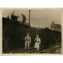 1923 Press Photo French troops guard occupied Ruhr coal yards, Germany