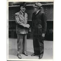 1937 Press Photo W. C. Cowling shakes hands with Ira B Groves, Ford Motor Co.