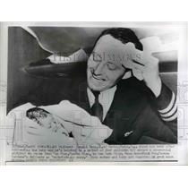 1956 Press Photo Flight Engineer Donald Rees Delivered Baby Boy on Plane