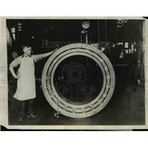 1927 Press Photo Largest Bearing of It's Kind Ever Built in Canton Ohio