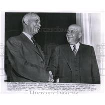 1955 Press Photo Jere Cooper Congratulates Sam Rayburn on lower income approved